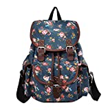 MoreChic Canvas Backpack Floral Printed Backpack School Bag for Teen Girls Purse