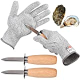 Oyster Shucking 4 Pieces Set-Oyster Shucker Opener Tool Oyster Shucking Knife with Level 5...