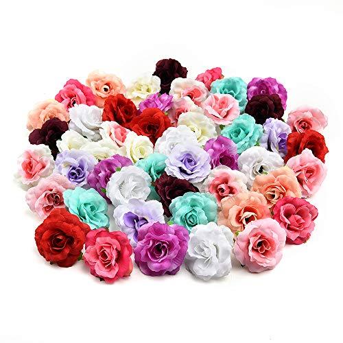 AzXU - Flores de seda decorativas, 30 unidades de 4 cm