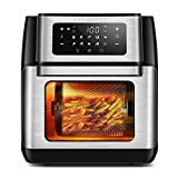 CROWNFUL 10-in-1 Air Fryer Toaster Oven, Convection Roaster with Rotisserie & Dehydrator, 10.6 Quart, Digital LCD Touch Screen, Accessories and Recipe Included