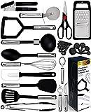 Home Hero 25pc Kitchen Utensil Set - Nylon & Stainless Steel Cooking Utensils - Non-Stick Kitchen Utensils with Spatula - Kitchen Gadgets Cookware Set - Kitchen Tool Set (25 Piece, Black)
