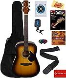 Jasmine S35 Acoustic Guitar - Matte Sunburst Bundle with Gig Bag, Strings, Tuner, Strap, Picks, Instructional Book, DVD, and Austin Bazaar Polishing Cloth