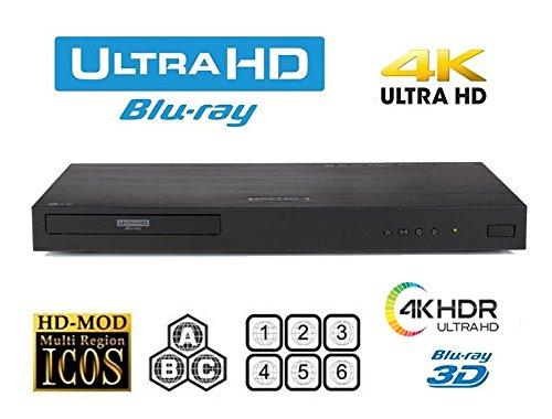 LG UBK90 UHD Streaming - 4K - 2D/3D - Region Free Blu Ray Disc DVD Player - PAL/NTSC - USB -...
