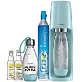 SodaStream Fizzi Sparkling Water Machine Bundle (Icy Blue), with CO2, 1/2 Liter BPA-Free My Only Bottle, and 0 Calorie Fruit Drops Flavors