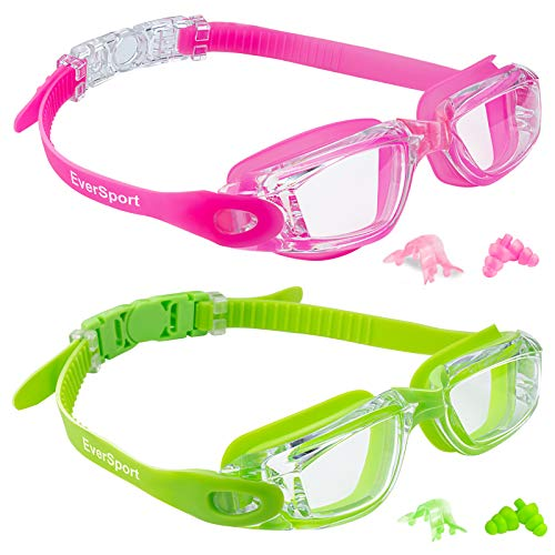 Kids Swim Goggles, 2 Pack Crystal Clear Swimming Goggles for Children and Teenagers, Anti-fog Anti-UV Youth Swimming Glasses, Leak proof, Free ear plugs, one button open straps, for 4-16 Y/O
