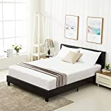 Mecor Full Size Black Bed Frame with Headboard/Faux Leather Upholstered Panel Bonded Platform Bed for Kids Boys Girls Adults/Strong Wood Slat Support, No Box Spring Needed - Black/Full
