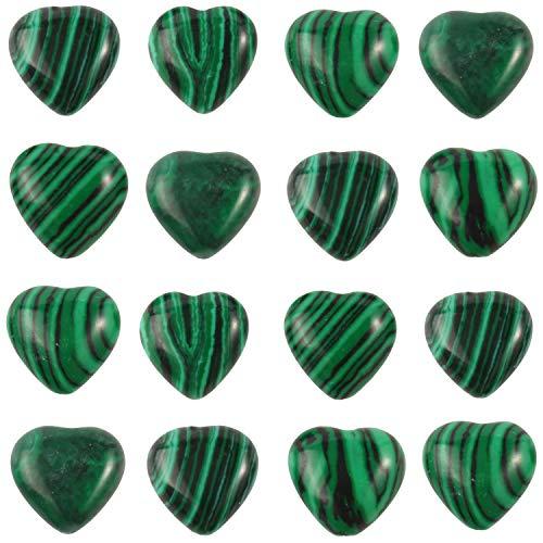 Xilitata 40pcs Heart Shape Green Malachite Synthetic Beads...