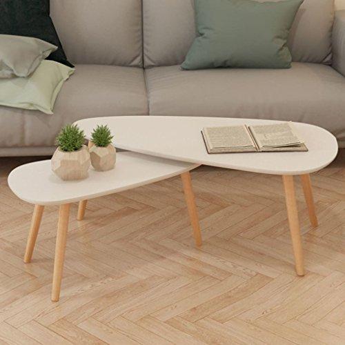 Tidyard Set di 2 Tavolini da caff, Tavolino da caff in Legno Ovale, 100x50x40 cm / 70x34,5x35 cm...