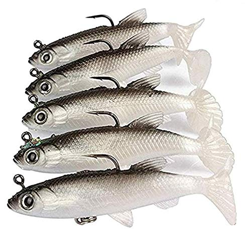 Wymaodan - Set di esche da pesca, 5 pezzi, 8 cm, morbide esche di piombo per pesca con gancio affilato e coda a T, esche artificiali, 1 A