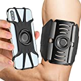 AONKEY Running Armband, 360 Rotatable& Detachable Cell Phone Holder Arm Band Universal fit for All Smartphone Include iPhone Xs Max XS XR X 6S 7 8 Plus, Galaxy S10 S9 S8 Note 9, Google Pixel 3 XL