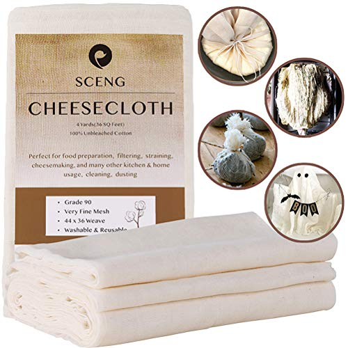 Cheesecloth, Grade 90, 36 Sq Feet, Reusable, Unbleached Cotton Fabric, Ultra Fine Cheesecloth for Cooking