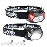 LE - Lampe Frontale LED Rechargeable Puissante, D500 Torche Frontale LED USB 2000lux Lumière Blanche et Rouge 6 Modes d'Éclairage IPX6 pour Cyclisme, Camping, Randonnée, Bricolage - 2 Pcs