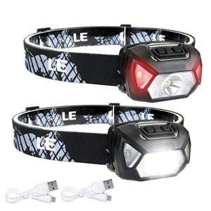 Linterna Frontal USB Recargable 2000lux (2 Pack), LE D500 Linterna Cabeza Alta Potente 6 Modos con Luz Rojo, Resistente al Agua IPX6 para Niños Adultos, Correr, Caminar, Camping, Excursión, Pesca 15