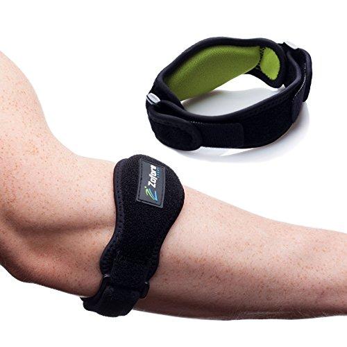 Beste Tennis-Ellenbogenbandage 2er Pack von Zofore – Effektive Schmerzlinderung bei Tennisarm – Verstellbare Gegenkraft-Bandage mit Kompressionskissen