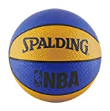 Spalding NBA Mini Rubber Outdoor Basketball, Blue/Orange