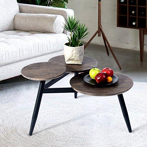 Aingoo Satztisch Couchtisch 3 desktop nierentisch Retro-Design Beistelltisch Wohnzimmertisch in Braun