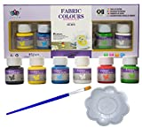 Pack Pintura para Tela y Ropa Permanente y Resistente al Agua más Pincel y Paleta de mezcla - Pack...