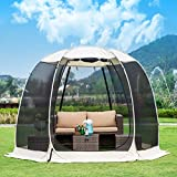 Leedor Gazebos for Patios Screen House Room 6-8 Person Canopy Mosquito Net Camping Tent Dining Pop Up Sun Shade Shelter Mesh Walls Not Waterproof Beige,10'x10'