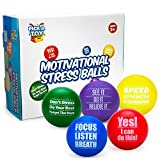 Motivational Stress Balls for Kids and Adults (5-Pack) Promote Anxiety and Stress Relief | Motivate and Inspire Students, Staff, Teams | Squishy, Assorted Colors