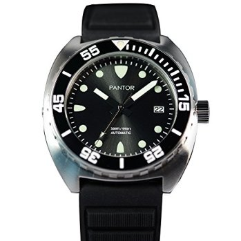 Pantor Sealion 300m Pro Dive Automatic Watch with Helium Valve Black Dial Sapphire Stainless Steel Rotating Bezel Rubber Strap