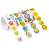 Juvale Teacher Stickers for Kids, 4 Rolls, Total 600+ Reward Incentive Stickers, Smiley Sticker Motivate Encourage Students for School & Classroom