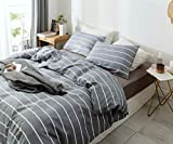 Janzaa 3pcs Striped Comforter Set Queen, Soft Microfiber Modern Pattern Home Bedding Comforter Set with 2 Pillow Cases(Queen)