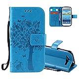 Aeeque Portable Bleu Etui PU Cuir pour Samsung Galaxy S3, Élégant [Chat et Arbre] Motif à Clapet Portefeuille Housse Pochette Magnétique Support Style de Livre Protection pour Galaxy S3/S3 Neo
