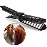 6 Teeth Corrugated Wave Hair straightener Styling Tool, Adjustable Temperature Ceramic Tourmaline Straight Plate Clip