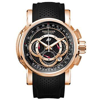 Reef Tiger Mens Chronograph Sport Rose Gold Rubber Strap Quartz Watches RGA3063