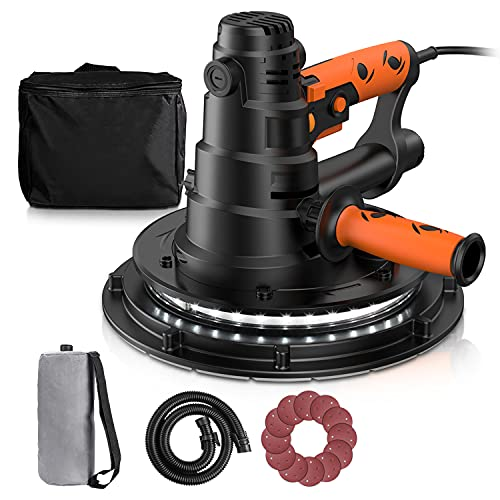 Drywall Sander, 800W Electric Drywall Sander with Automatic Vacuum Dust Collection System & LED Light, 12 Pcs Sandpapers and a Carry Bag, 6 Variable Speeds, Detachable Handle DIY, PDS03B