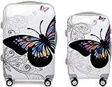 JOLLY Viajes Feixunfan Maleta de la mariposa de Shell duro giratoria Conjunto señoras de la maleta de equipaje Equipaje de Columna portátil silencioso de acceso a aeronaves rotador multi-direccional c