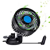 12 Volt Car Fans for Car Stepless Speed, Vehicle Truck Fan Cigarette Lighter with Suction Cup, Electric Fan 360 Degree Adjustable Low Noise for Vehicle Car Truck Van SUV RV ATV Boat