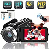 Video Camera Camcorder, 1080p 30FPS Digital YouTube Vlogging Camera Recorder with Night Vision Support External Microphone Full HD 24MP 16X Digital Zoom with 2 Batteries HDMI Cable Included