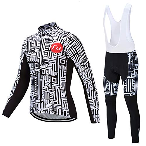 Coconut Ropamo Men's Cycling Clothing Sets Long Sleeve Cycling Jersey Sets Road Bike Clothing 4D Padded Cycling Bib Pants