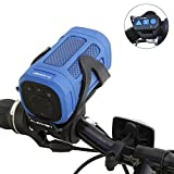 Portable Bluetooth 4.0 Speaker by CLEARON – Wireless Waterproof Speaker with Bike Mount & Remote – Premium Sound Quality & Loud 8W Mini Speaker – 15 Hours of Playtime & 100 ft Range (Blue)