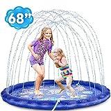 Desuccus Sprinkler for Kids, 3-in-1 Splash Pad 68' Wading Pool Sprinkler & Splash Inflatable Water Toys for Children Outdoor Play Mat for Babies, Toddlers, Preschoolers (Space)