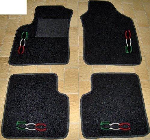 Tappeti per auto, set completo di Tappetini in Moquette su Misura Neri con Ricamo a Filo Tricolore...