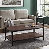 Walker Edison Furniture Company Rustic Farmhouse Rectangle Wood and Metal Frame Coffee Accent Table Living Room 2 Tier Storage Shelf, 46 inch, Dark Walnut