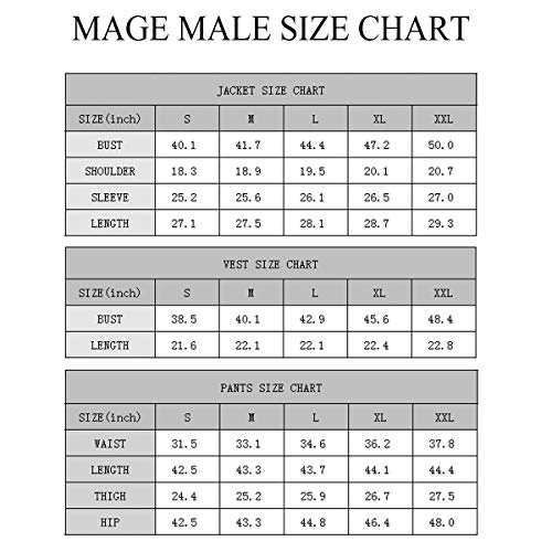 MAGE MALE Men's 3 Pieces Suit Elegant Print Tuxedos One Button Slim Fit Single Breasted Party Blazer Vest Pants Set