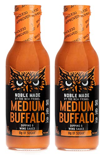 Noble Made by The New Primal, Medium Buffalo Dipping and Wing Sauce, Whole30 and Paleo Approved, 12oz Pack of 2
