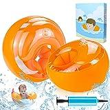 ZOOI Schwimmflügel Kinder, Schwimmhilfe für Anfänger, Swimsafe Gerät, Schwimmreifen Armumfang 21-23cm, Schwimmring für 1-4 Jahre Jungen Mädchen Babys, Empfohlenes Gewicht 6-20kg (Orange)