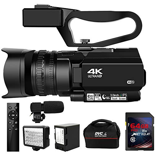 Camcorder 4K Ultra HD 48MP Video Camera for YouTube 30X Digital Zoom IR Night Vision Camcorder with Portable Handheld Stabilizer, 360° Wireless Remote Control and 64G SD Card
