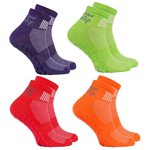 Rainbow Socks - Donna Uomo Sportive Calze Antiscivolo ABS di Cotone - 4 Paia - Naranja Rojo Verde...