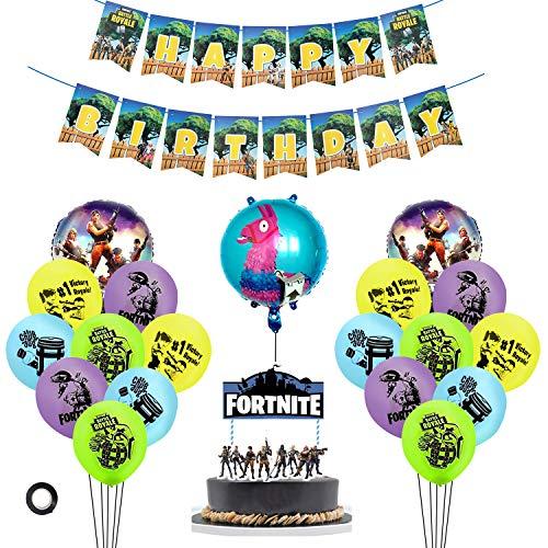 Decoración de fiesta de cumpleaños de videojuegos, Suministros de fiesta de cumpleaños para juegos con Banner de feliz cumpleaños Globo de fiesta, Decoraciones De Pastel