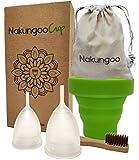 NakungooCup Kit Coupes Menstruelles Certifiées Bio 2 Cup Taille S & L Stérilisateur en Silicone...