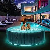 Miweba MSpa aufblasbarer Whirlpool 2021 Starry C-ST061 Outdoor - inkl. LED Band - 138 Düsen - 204 x 70 cm - Tüv GS geprüft - 930 Liter - Pool aufblasbar (Comfort Starry 6 Personen)