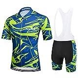 Maillot Cyclisme Manches Courtes, Vêtements Cycliste avec Cuissard à Bretelles pour VTT, été, XL