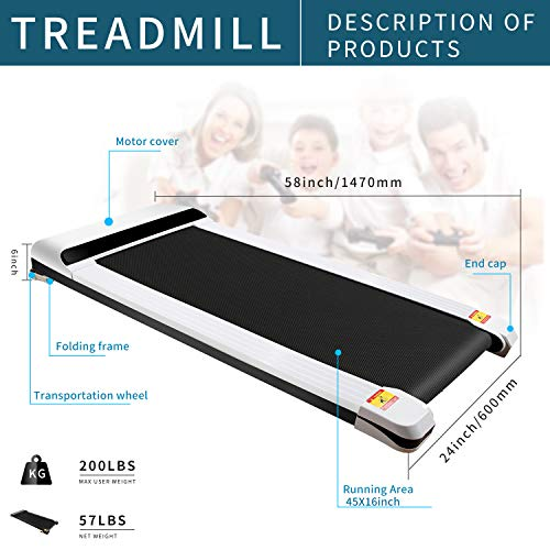UMAY Portable Treadmill with Foldable Wheels, Under Desk Walking Pad Flat Slim Treadmill, Sports App, Installation-Free, Remote Control, Jogging Running Machine for Home/Office, White 5