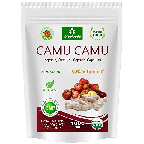 Camu Camu Capsule 8:1 estratto con vitamina C naturale al 50% (120 o 360 pezzi) - prodotto di qualità vegana da MoriVeda (1x120)