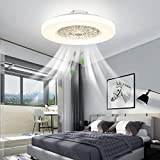 IYUNXI Modern Ceiling Fans with Lights Flush Mount Remote Control LED Dimming Three-color Lighting Low Profile Ceiling Fan 23-Inch 72W Enclosed Ceiling Fan Light Kitchen Bedroom Children's Room